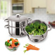 Vinod Stainless Steel 3 Tier Steamer with Glass Lid -20 cm (Induction Friendly)-5-sm