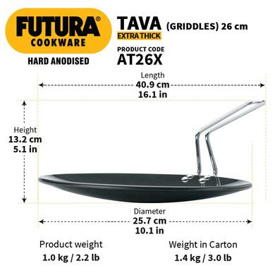 Hawkins Futura Hard Anodised Tawa, 26cm (L50)-26cm-3
