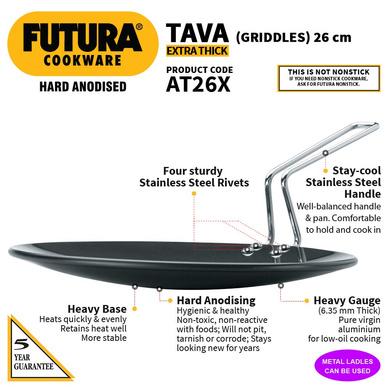 Hawkins Futura Hard Anodised Tawa, 26cm (L50)-26cm-2