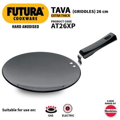 Hawkins Futura Hard Anodised Tawa with Plastic Handle, 26cm (L57)-26cm-1