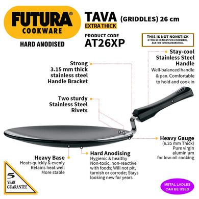 Hawkins Futura Hard Anodised Tawa with Plastic Handle, 26cm (L57)-26cm-2