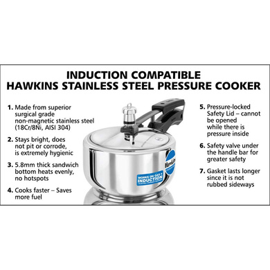Hawkins Stainless Steel Induction Pressure cooker, 2 Litre(B25)-2ltr-5