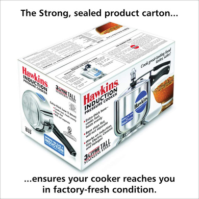 Hawkins Stainless Steel Induction Pressure cooker, 3 Litre Tall (B33)-3ltr-3