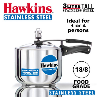 Hawkins Stainless Steel Induction Pressure cooker, 3 Litre Tall (B33)-3ltr-1