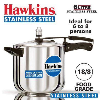 Hawkins Stainless Steel Induction Pressure cooker, 6 Litre(B65)-6ltr-1