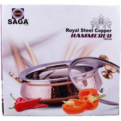 SAGA Serving Pot Handi with Lid and Handle for Serving Dishes (Copper) NO.2 500ml-3