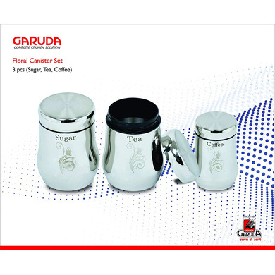 Garuda Stainless Steel Floral Canister Set-15280