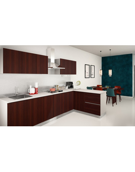 L-Shaped kitchen in Maroon colour with laminate finish