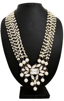 Globalepartner Multi Pearl Chains Alloy, Metal Necklace