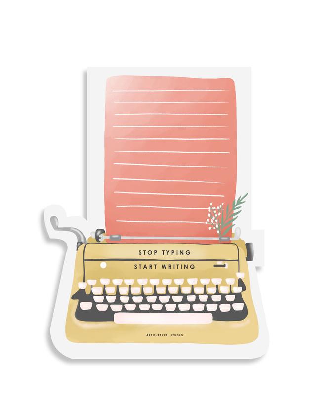 STICKY NOTES PAD - Stop Typing Start Writing - Lemon & Coral-STICKYAP21-18