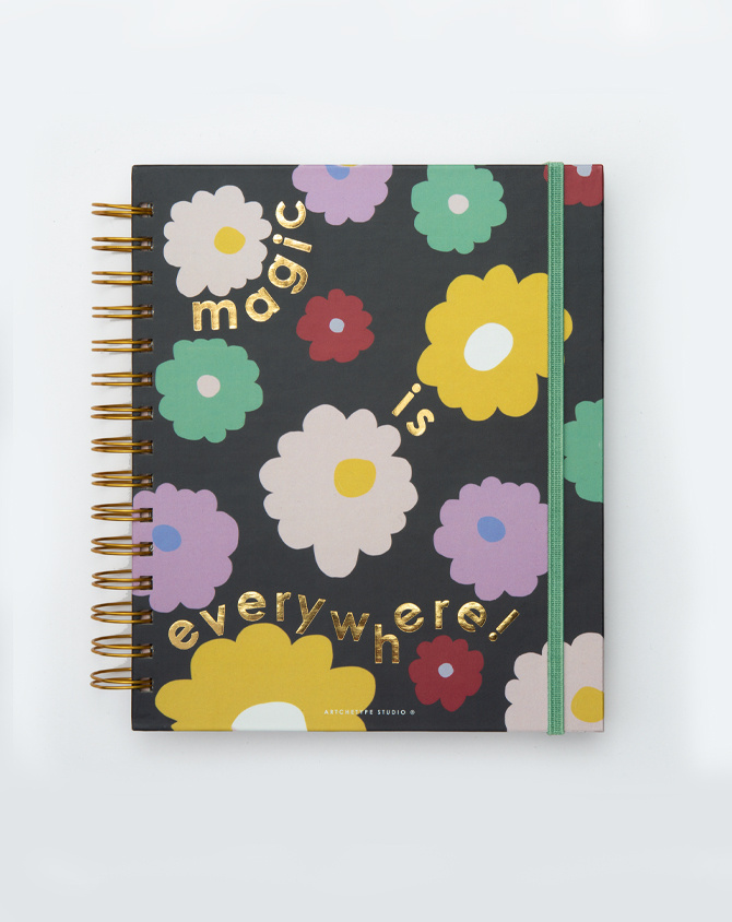 Magical Blooms Planner Kit 08-  Wire-O Annual Planner + Pen Pouch with Elastic Strap-2
