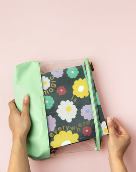 Magical Blooms Planner Kit 08-  Wire-O Annual Planner + Pen Pouch with Elastic Strap
