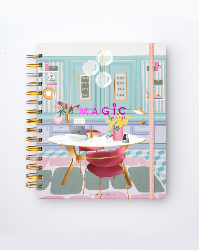 Work It Planner Kit 06-  Wire-O Annual Planner + Pen Pouch with Elastic Strap-2