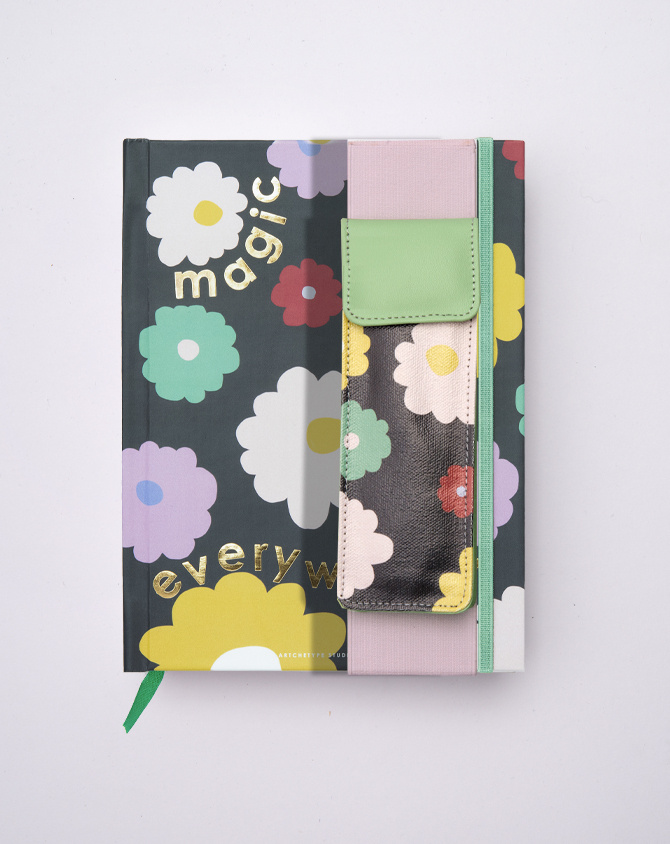 Magical Blooms Pen Pouch with Elastic Strap-1