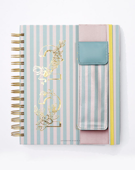 Classic Planner Kit 04-  Wire-O Bound Annual Planner + Pen Pouch with Elastic Strap