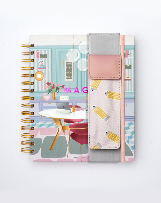 Work It Planner Kit 06-  Wire-O Annual Planner + Pen Pouch with Elastic Strap-AP2211-06