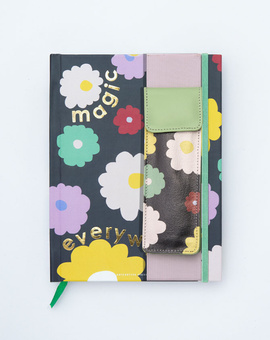 Magical Blooms Planner Kit 07-  Hardbound Annual Planner + Pen Pouch with Elastic Strap