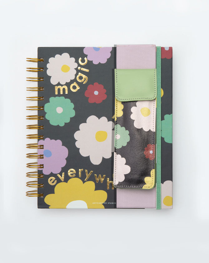 Magical Blooms Planner Kit 08-  Wire-O Annual Planner + Pen Pouch with Elastic Strap-AP2211-08