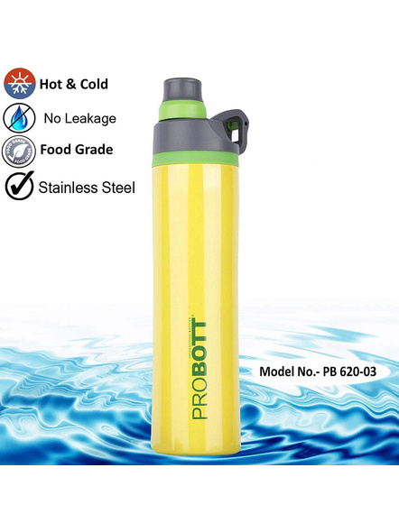 PROBOTT Stainless Steel Double Wall Vacuum Flask Delta Bottle 620ml -PB 620-03 (Colour May Vary)-YELLOW-5