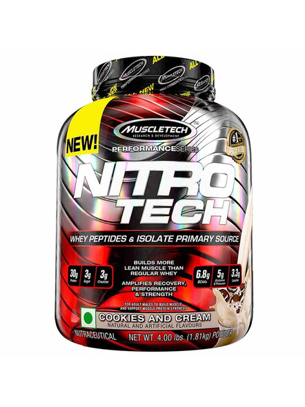 MUSCLETECH NITROTECH 4 LBS WHEY PROTIEN ISOLATE-COOKIE AND CREAM-4 Lbs-2