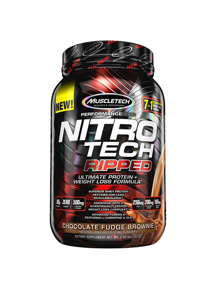 MUSCLETECH NITROTECH RIPRED 2 LBS WHEY PROTIEN ISOLATE-CHOCOLATE FUDGE BROWINE-2 Lbs-3
