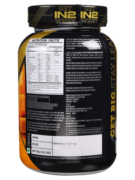 IN2 WHEY PROTEIN 908GMS WHEY PROTIEN BLEND-MANGO-908 g-28-5