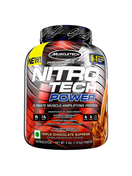 MUSCLETECH NITROTECH POWER 4 LB WHEY PROTIEN ISOLATE-TRIPLE CHOCOLATE SUPREME-4 LBS -2