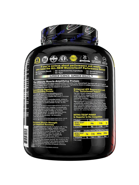 MUSCLETECH NITROTECH POWER 4 LB WHEY PROTIEN ISOLATE-TRIPLE CHOCOLATE SUPREME-4 LBS -3