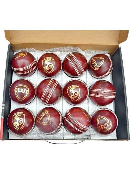 Sg Club Leather Cricket Season Ball-RED-1 Unit-1