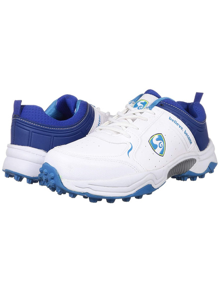 Sg Club 3.0 Cricket Shoes-WHITE AND R.BLUE AND AQUA-1 pair-6-1