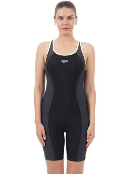 Speedo Essential Splice Racerback Legsuit Solid Women Swim-dress Black, Grey Swimsuit-18869