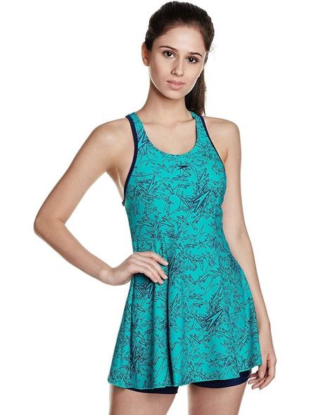 Speedo Female Swimwear All Over Print Racerback Swimdress With Boyleg Printed Women Swim-dress Blue Swimsuit-24765