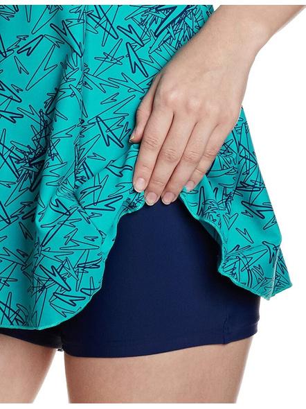 Speedo Female Swimwear All Over Print Racerback Swimdress With Boyleg Printed Women Swim-dress Blue Swimsuit-38-2