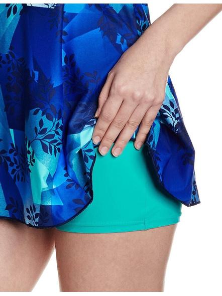 Speedo Female Swimwear All Over Print Racerback Swimdress With Boyleg Printed Women Swim-dress Blue Swimsuit-36-2