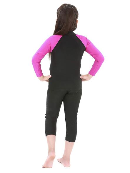 Tyr Eco Long Sleeve Rashgaurd Swim Costumes Ladies 1 Pcs Body Suit Frill (colour May Vary)-Black-30-2