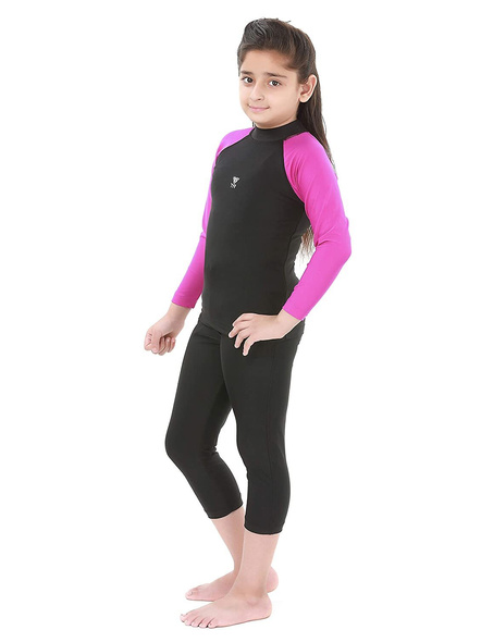 Tyr Eco Long Sleeve Rashgaurd Swim Costumes Ladies 1 Pcs Body Suit Frill (colour May Vary)-Black-34-1