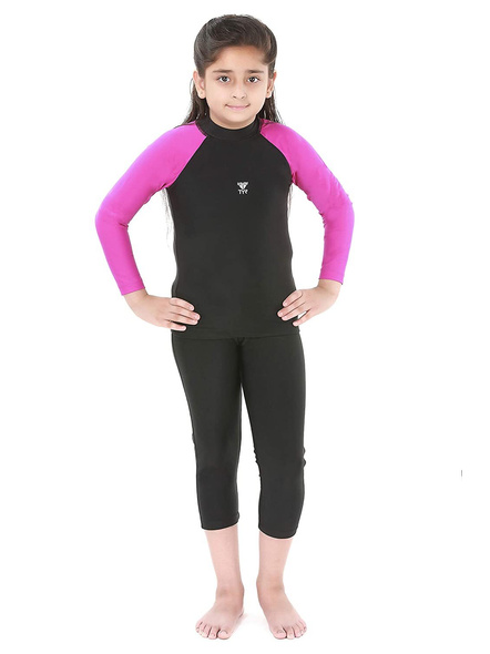 Tyr Eco Long Sleeve Rashgaurd Swim Costumes Ladies 1 Pcs Body Suit Frill (colour May Vary)-24631