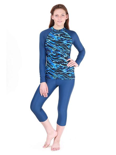Tyr Miramar Long Sleeve Rashgaurd Swim Costumes Ladies 1 Pcs Body Suit Frill-18746