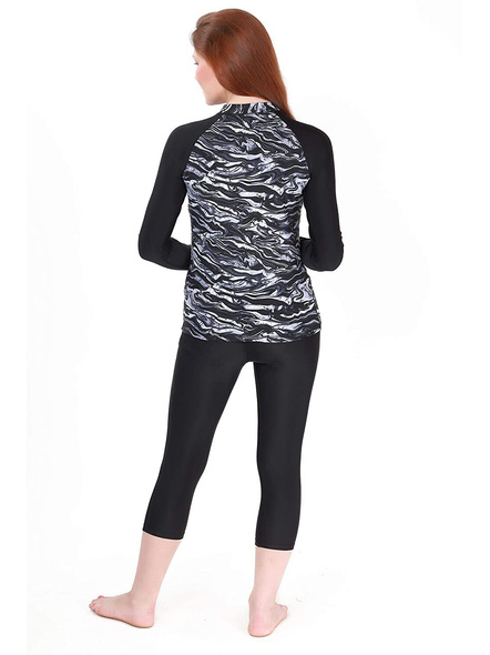Tyr Miramar Long Sleeve Rashgaurd Swim Costumes Ladies 1 Pcs Body Suit Frill-Titanium-32-1