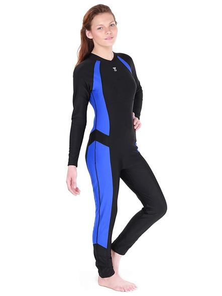 Tyr Aerofit Divesuit Swim Costumes Ladies 1 Pcs Body Suit Frill-Black/cobalt-38-1