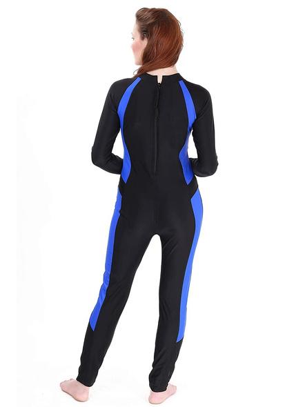 Tyr Aerofit Divesuit Swim Costumes Ladies 1 Pcs Body Suit Frill-Black/cobalt-40-2