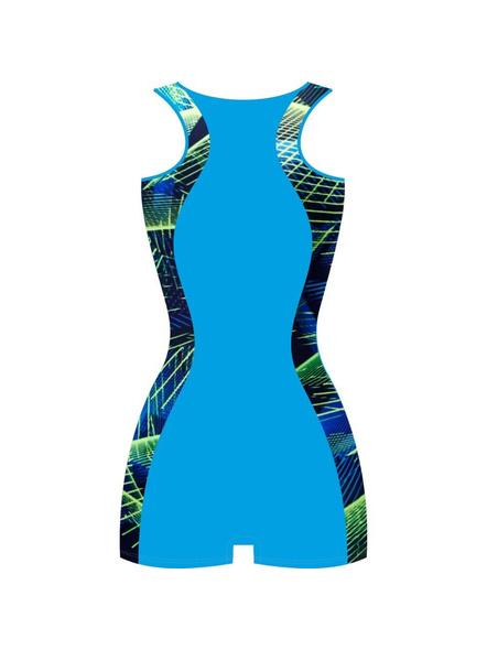 Tyr Girls In Aerofit Legsuit Swim Costumes Ladies Kneesuit (colour May Vary)-Blue Cobalt-28-1