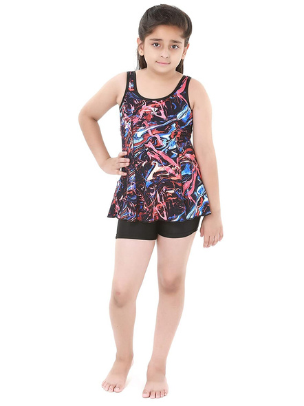Tyr Girls In Penello Frksuit Swim Costumes Ladies Kneesuit With Frill-24679