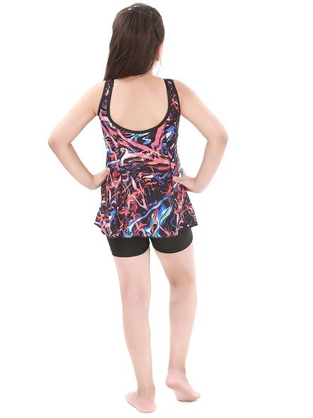Tyr Girls In Penello Frksuit Swim Costumes Ladies Kneesuit With Frill-Multi Red-24-1