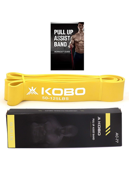 Kobo Ac-77 Power Loop Band/resistance Band/rubber Pull Up Assist Bands 41 Inch| Powerlifting Bands For Mobility & Body Stretching, Powerlifting, Resistance Training, Tension 50-125 Lbs, (yellow)-29867