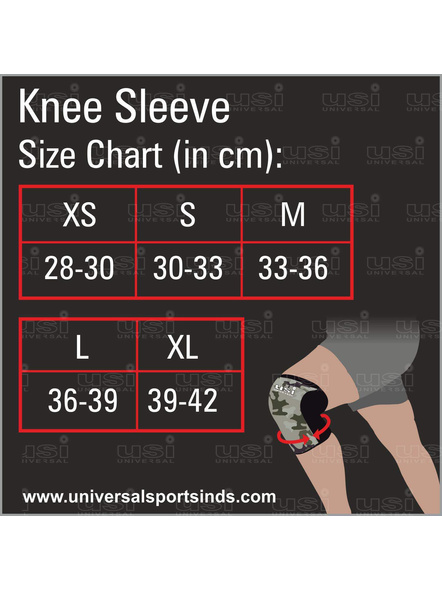 Usi Ks5-5mm Knee Sleeves Support For Fitness, Cross Training, Knee Injury- (1pc)-CAMO AND BLACK-XS-2