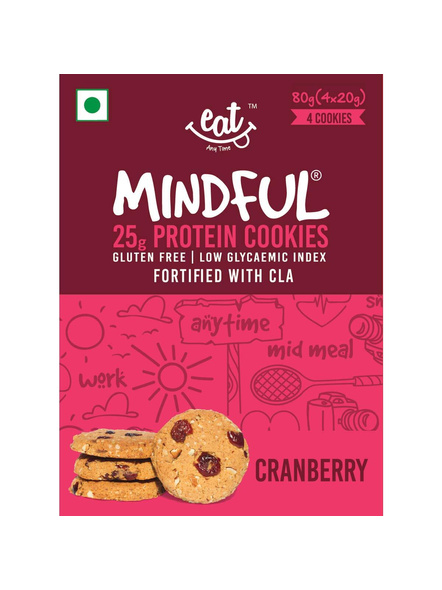 Eat Anytime Mindful Protein Cookies (80 G) Pack Of 4 Protein Bars-CRANBERRRY-80 g-1