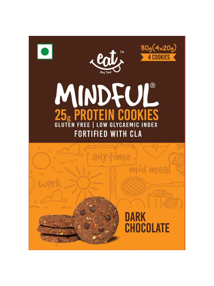 Eat Anytime Mindful Protein Cookies (80 G) Pack Of 4 Protein Bars-DARK CHOCOLATE-80 g-2