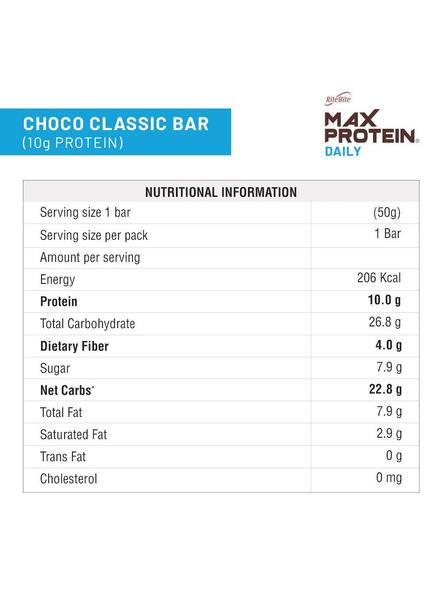 Ritebite Max Protein Daily Bars 300g - Pack Of 6 (50g X 6)-CHOCO CLASSIC-2