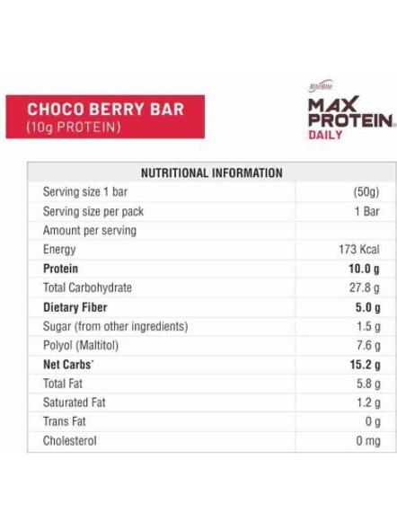 Ritebite Max Protein Daily Bars 300g - Pack Of 6 (50g X 6)-CHOCO BERRY-1